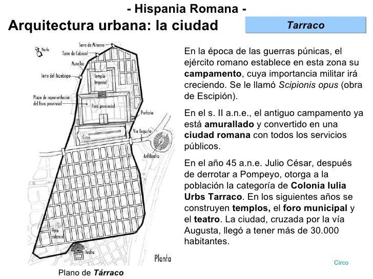 - Hispania Romana - Arquitectura urbana: la ciudad En la época de las guerras púnicas, el ejército romano establece en est...