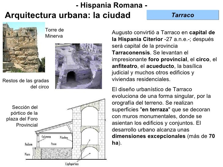 - Hispania Romana - Arquitectura urbana: la ciudad Augusto convirtió a Tarraco en  capital de la Hispania Citerior  -27 a....