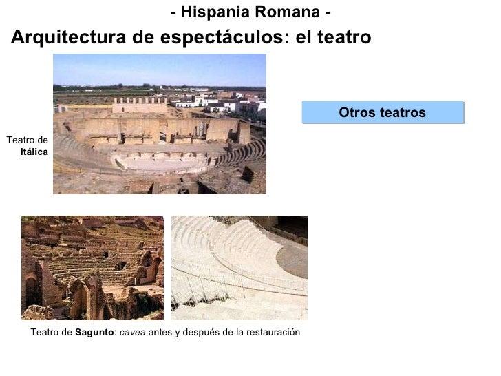 - Hispania Romana - Arquitectura de espectáculos: el teatro Otros teatros Teatro de  Itálica Teatro de  Sagunto :  cavea  ...