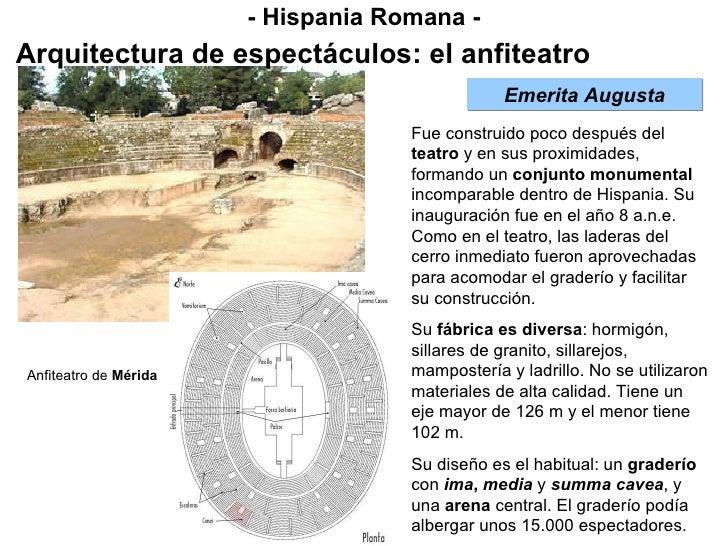 - Hispania Romana - Arquitectura de espectáculos: el anfiteatro Emerita Augusta Fue construido poco después del  teatro  y...