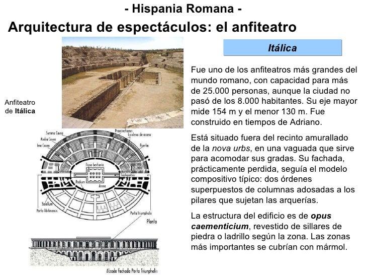 - Hispania Romana - Arquitectura de espectáculos: el anfiteatro Itálica Fue uno de los anfiteatros más grandes del mundo r...