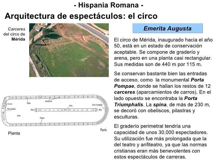 - Hispania Romana - Arquitectura de espectáculos: el circo Emerita Augusta El circo de Mérida, inaugurado hacia el año 50,...