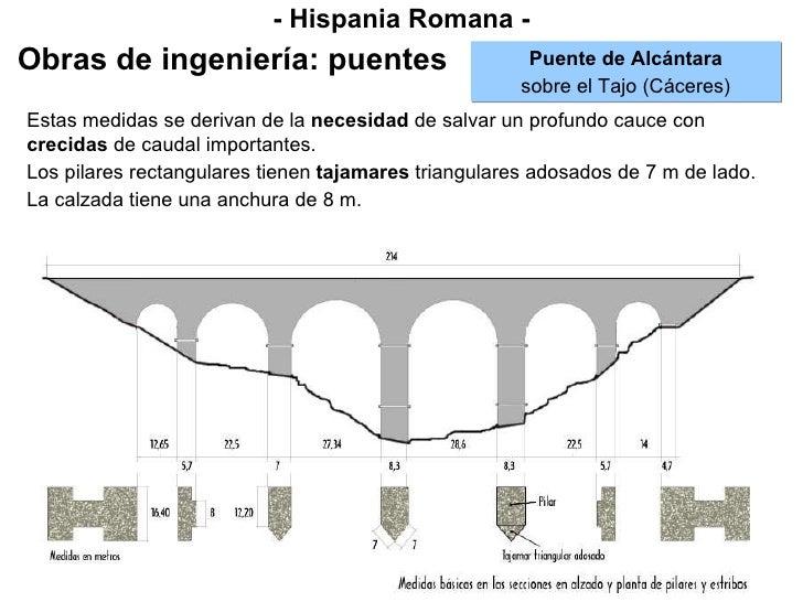 - Hispania Romana - Obras de ingeniería: puentes Puente de Alcántara sobre el Tajo (Cáceres) Estas medidas se derivan de  ...