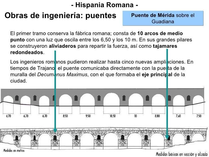 - Hispania Romana - Obras de ingeniería: puentes Puente de Mérida  sobre el Guadiana El primer tramo conserva la fábrica r...