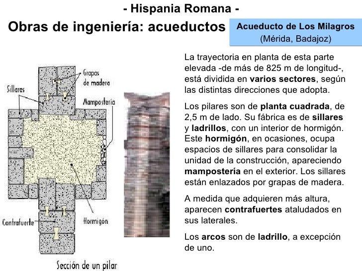 - Hispania Romana - Obras de ingeniería: acueductos Acueducto de Los Milagros (Mérida, Badajoz) La trayectoria en planta d...