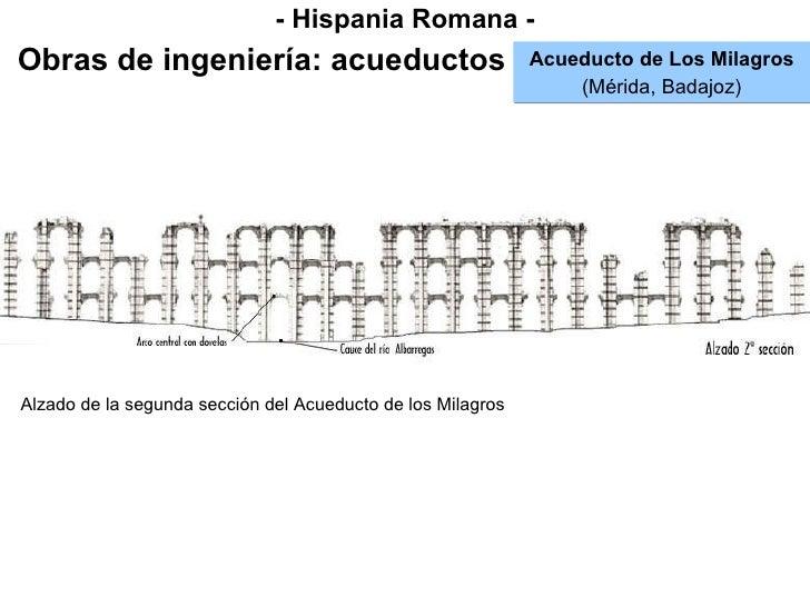 - Hispania Romana - Obras de ingeniería: acueductos Acueducto de Los Milagros (Mérida, Badajoz) Alzado de la segunda secci...