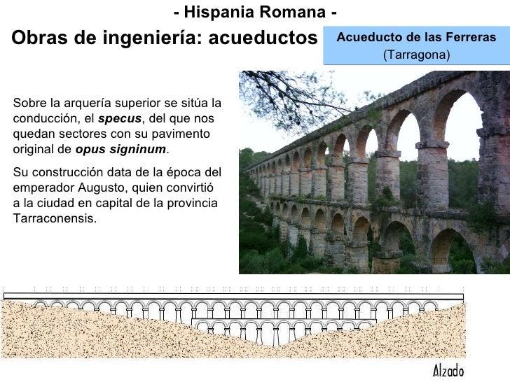 - Hispania Romana - Obras de ingeniería: acueductos Acueducto de las Ferreras (Tarragona) Sobre la arquería superior se si...