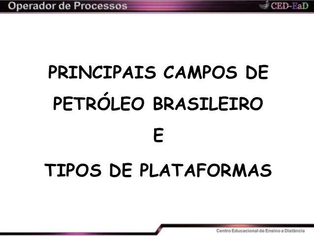 PRINCIPAIS CAMPOS DE PETRÓLEO BRASILEIRO E TIPOS DE PLATAFORMAS