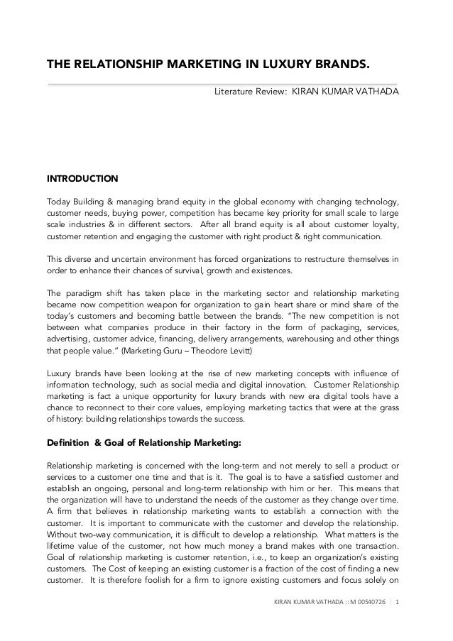literature review on customer relationship management Relationship management: processes and technologies with managerial implications timothy d landry, todd j arnold, and aaron arndt this paper presents the first comprehensive and systematic review of the sales-related customer relationship managem (crm) literature specifically, from a.