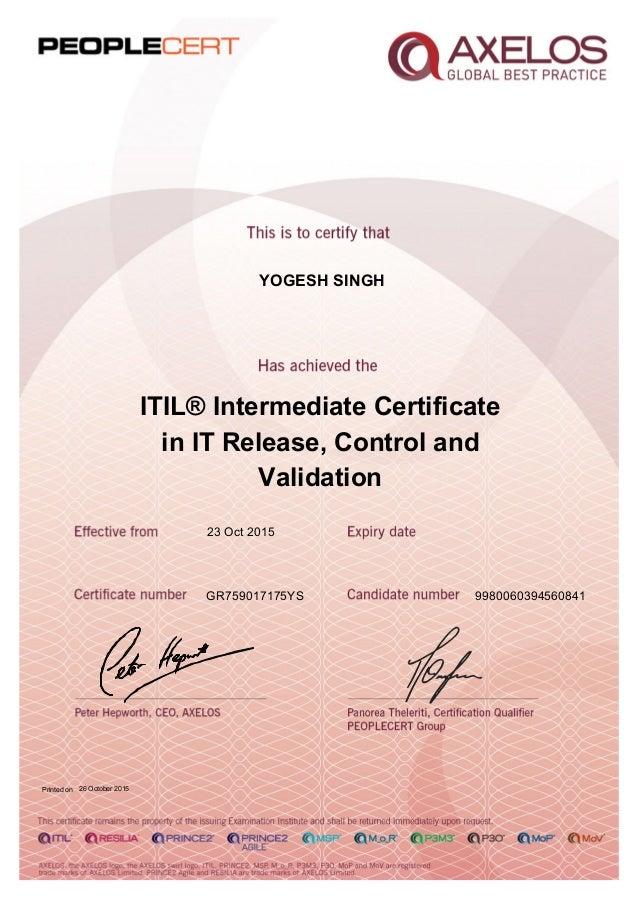 Itil Intd Cap Rcv 2011 Certificate