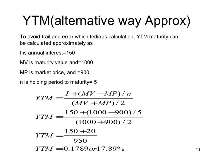 Yield To Maturity Calculation