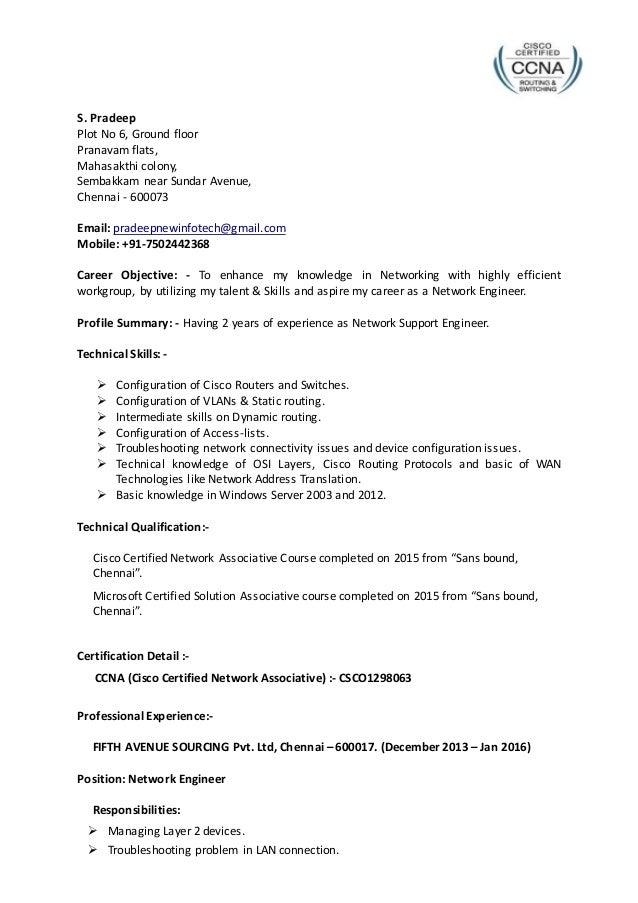 pradeep network engineer resume