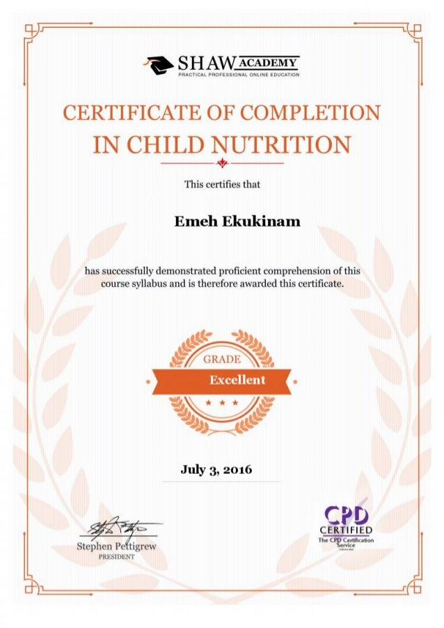 Child Nutrition Certificate