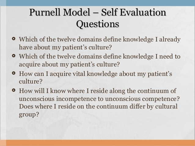 purnell s model of cultural competence Campinha-bacote model of cultural competence a complete description of the model can be found in transcultural nursing: discusses the purnell model's 12.