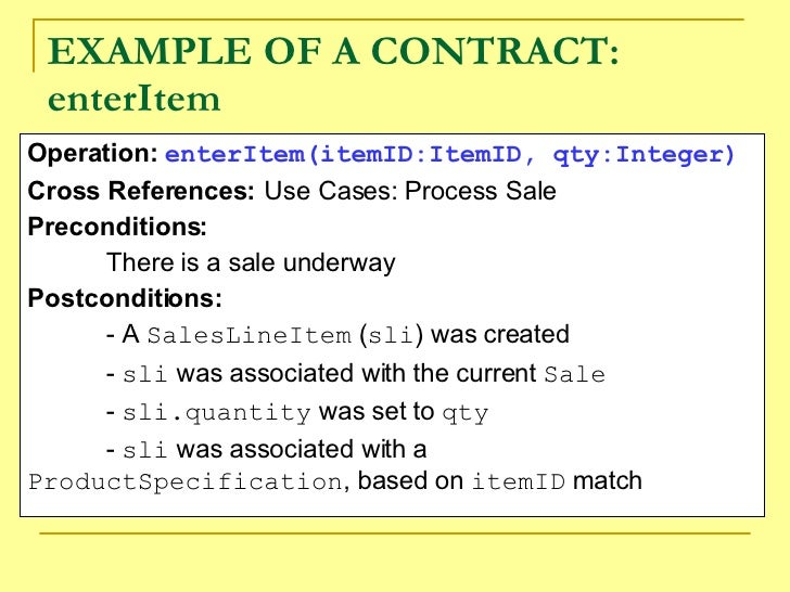 Nice Marvelous EXAMPLE OF A CONTRACT: EnterItem Operation: .