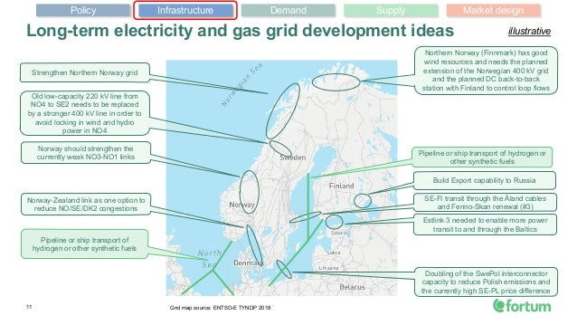11 Long-term electricity and gas grid development ideas Grid map source: ENTSO-E TYNDP 2018 Northern Norway (Finnmark) has...