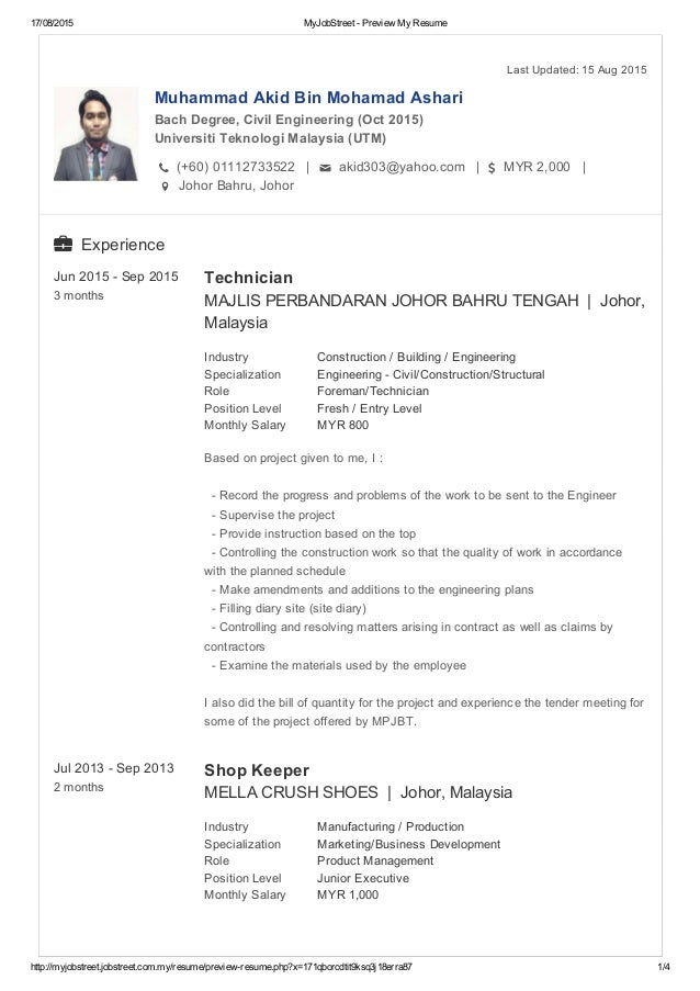 Resume Sample Resume Civil Engineer Malaysia my resume 17082015 myjobstreet preview httpmyjobstreet jobstreet