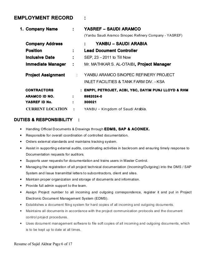 cv sajid akhtar - lead document controller