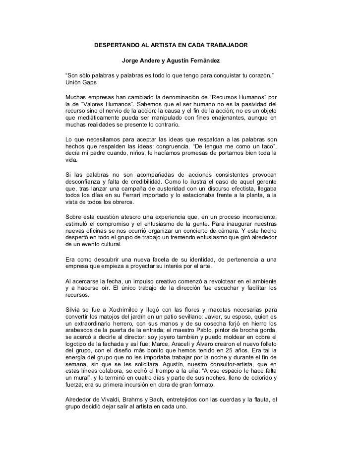 """DESPERTANDO AL ARTISTA EN CADA TRABAJADOR                      Jorge Andere y Agustín Fernández""""Son sólo palabras y palabr..."""