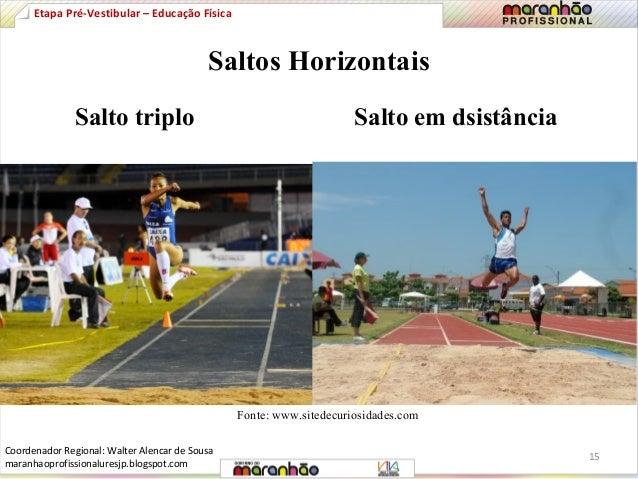 Etapa Pré-Vestibular – Educação Física  Saltos Horizontais  Salto triplo Salto em dsistância  Fonte: www.sitedecuriosidade...