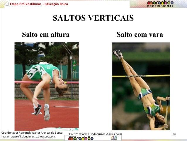 Etapa Pré-Vestibular – Educação Física  SALTOS VERTICAIS  Salto em altura Salto com vara  Fonte: www.sitedecuriosidades.co...
