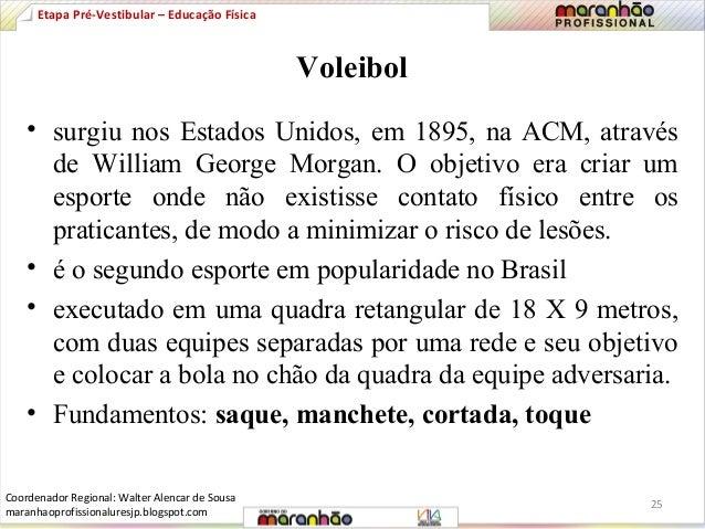Voleibol  Etapa Pré-Vestibular – Educação Física  • surgiu nos Estados Unidos, em 1895, na ACM, através  de William George...