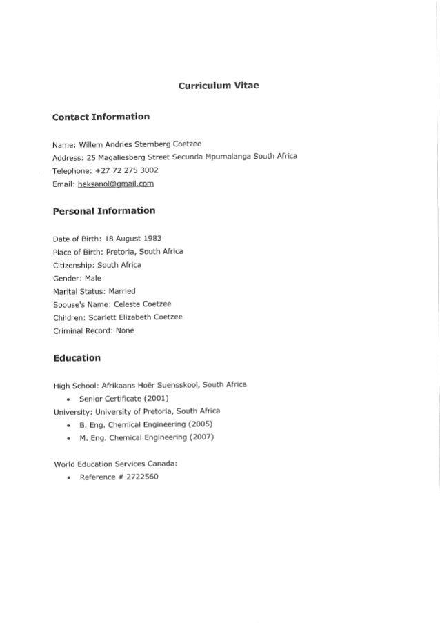CV for Sternberg Coetzee