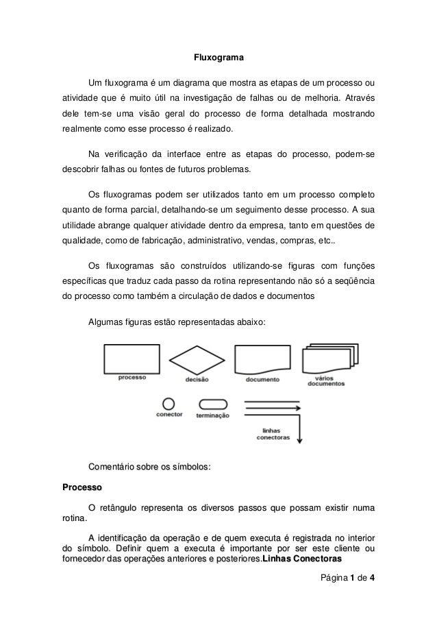 Página 1 de 4FluxogramaUm fluxograma é um diagrama que mostra as etapas de um processo ouatividade que é muito útil na inv...
