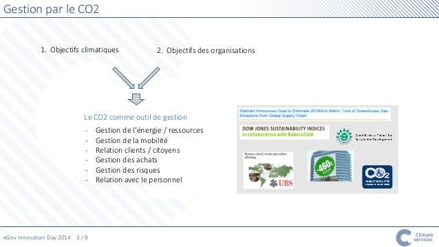 eGov Innovation Day 2014 3 / 9  Gestion par le CO2  2. Objectifs des organisations  -Gestion de l'énergie / ressources  -G...