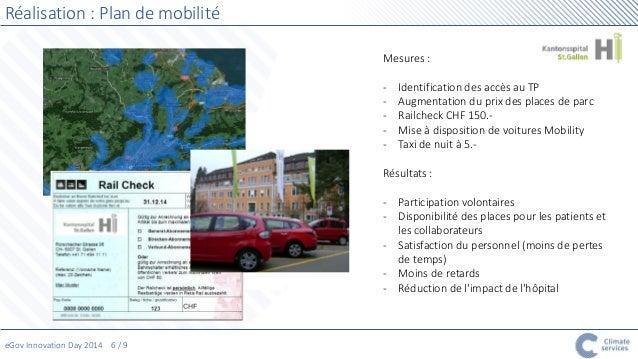eGov Innovation Day 2014 6 / 9  Réalisation : Plan de mobilité  Mesures :  - Identification des accès au TP  - Augmentatio...