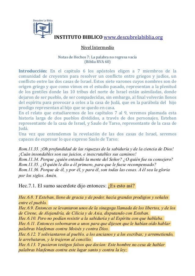 INSTITUTO  BIBLICO  www.descubrelabiblia.org Nivel  Intermedio Notas  de  Hechos  7:  La  palabra  no  ...