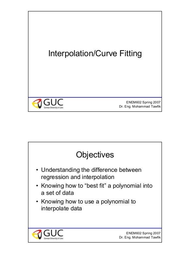 1 ENEM602 Spring 2007 Dr. Eng. Mohammad Tawfik Interpolation/Curve Fitting ENEM602 Spring 2007 Dr. Eng. Mohammad Tawfik Ob...