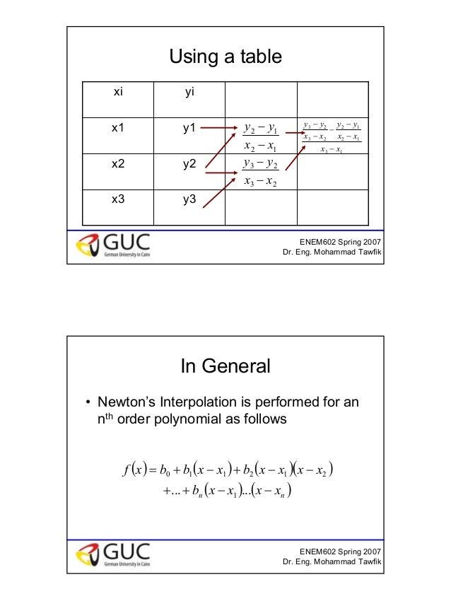 13 ENEM602 Spring 2007 Dr. Eng. Mohammad Tawfik Using a table y3x3 y2x2 y1x1 yixi 13 12 12 23 23 xx xx yy xx yy − − − − − ...