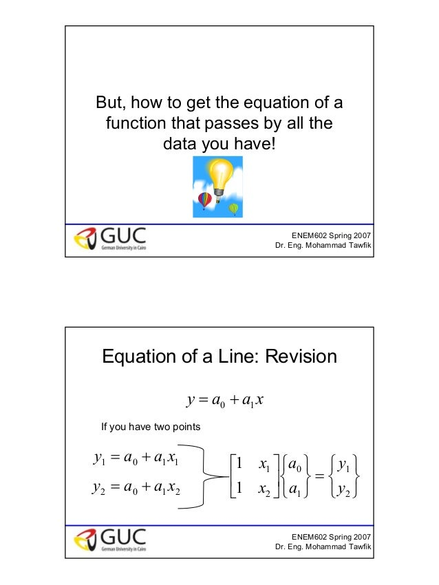 6 ENEM602 Spring 2007 Dr. Eng. Mohammad Tawfik But, how to get the equation of a function that passes by all the data you ...