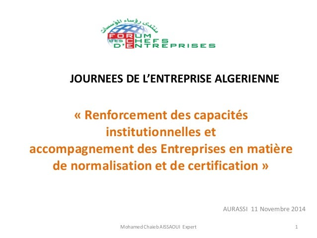 «Renforcement des capacités institutionnelles et accompagnement des Entreprises en matière de normalisation et de certific...