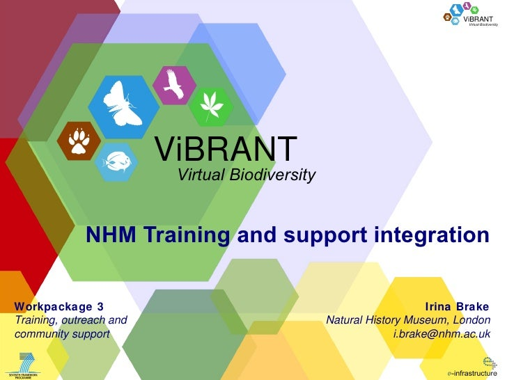 NHM Training and support integration Irina Brake Natural History Museum, London [email_address] Workpackage 3 Training, ou...