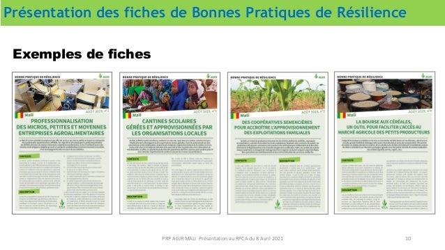 Présentation des fiches de Bonnes Pratiques de Résilience 10 PRP AGIR MALI Présentation au RPCA du 8 Avril 2021 Exemples d...