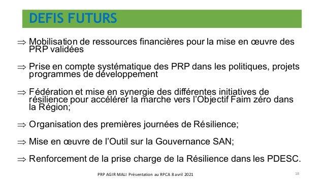DEFIS FUTURS ⇒ Mobilisation de ressources financières pour la mise en œuvre des PRP validées ⇒ Prise en compte systématiqu...