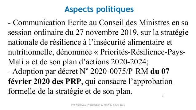 4 Aspects politiques - Communication Ecrite au Conseil des Ministres en sa session ordinaire du 27 novembre 2019, sur la s...