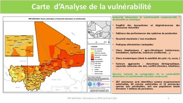 Carte d'Analyse de la vulnérabilité Insécurité alimentaire et nutritionnelle conjoncturelle / structurelle ou chronique • ...