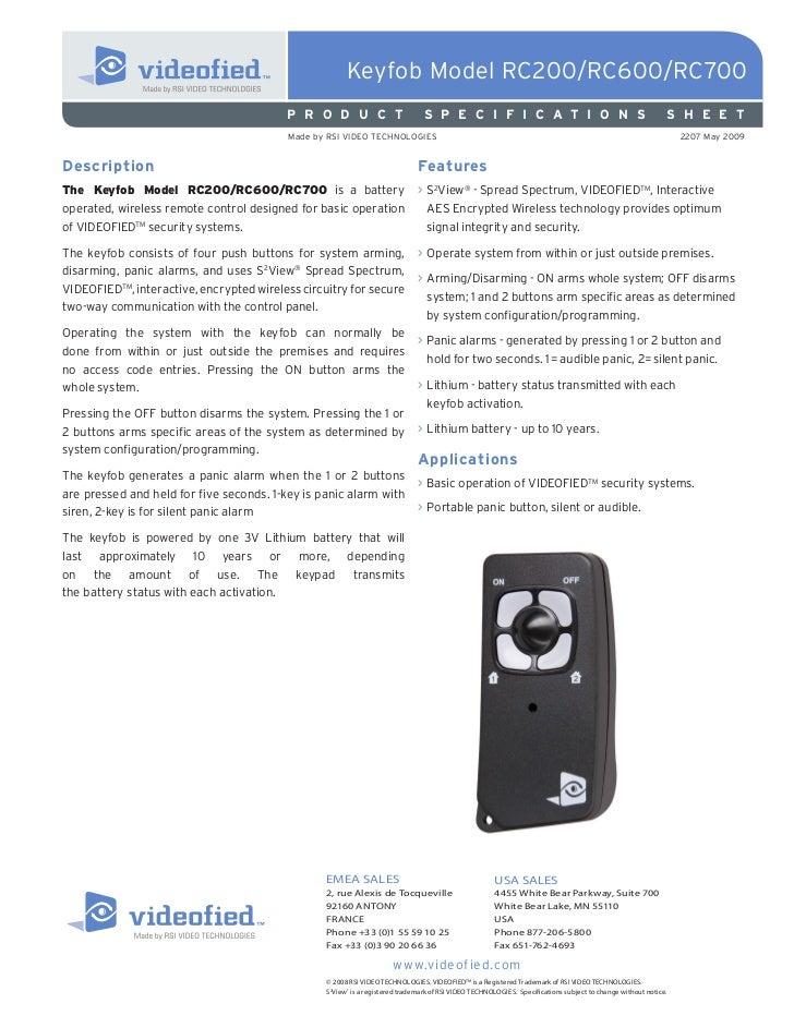 Keyfob Model RC200/RC600/RC700                                          P R O D U C T                          S P E C I F...
