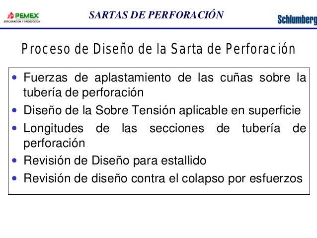 SARTAS DE PERFORACIÓN  Proceso de Diseño de la Sarta de Perforación  · Fuerzas de aplastamiento de las cuñas sobre la  tub...