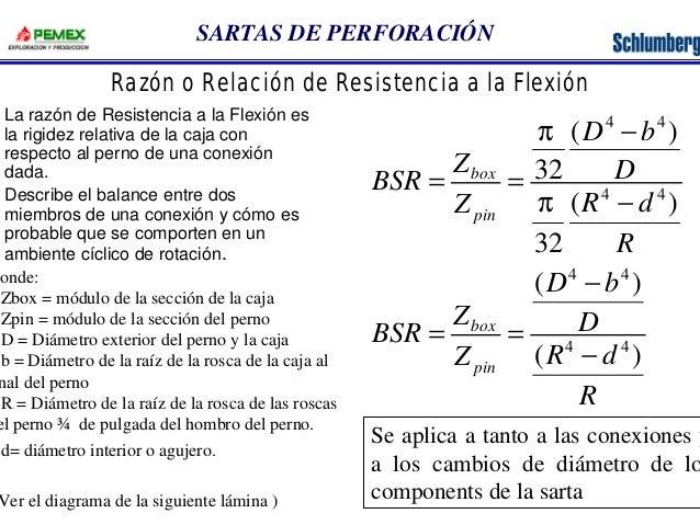 SARTAS DE PERFORACIÓN  Razón o Relación de Resistencia a la Flexión  La razón de Resistencia a la Flexión es  la rigidez r...