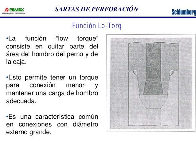 """SARTAS DE PERFORACIÓN  Función Lo-Torq  •La función """"low torque""""  consiste en quitar parte del  área del hombro del perno ..."""