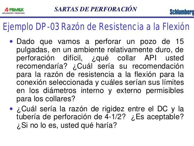 SARTAS DE PERFORACIÓN  Ejemplo DP-03 Razón de Resistencia a la Flexión  · Dado que vamos a perforar un pozo de 15  pulgada...