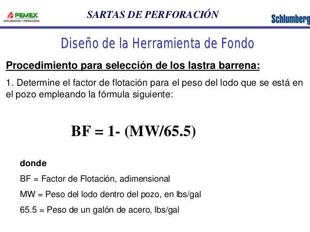 SARTAS DE PERFORACIÓN  Diseño de la Herramienta de Fondo  Procedimiento para selección de los lastra barrena:  1. Determin...
