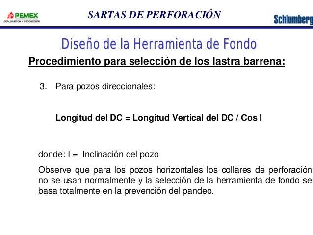 SARTAS DE PERFORACIÓN  Diseño de la Herramienta de Fondo  Procedimiento para selección de los lastra barrena:  3. Para poz...