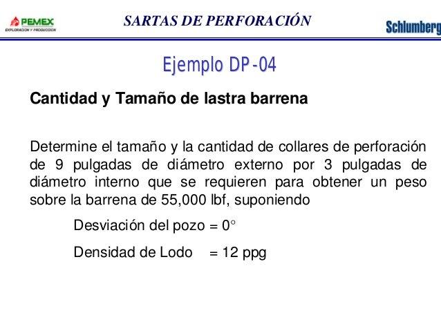 SARTAS DE PERFORACIÓN  Ejemplo DP-04  Cantidad y Tamaño de lastra barrena  Determine el tamaño y la cantidad de collares d...