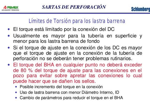 SARTAS DE PERFORACIÓN  Límites de Torsión para los lastra barrena  · El torque está limitado por la conexión del DC  · Usu...