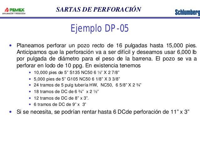 SARTAS DE PERFORACIÓN  Ejemplo DP-05  · Planeamos perforar un pozo recto de 16 pulgadas hasta 15,000 pies.  Anticipamos qu...